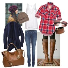 Cozy, Comfortable, casual fall/winter. Effortless, easy outfit. Plaid and blue jeans set with brown boots with knit leg warmers and adorable beanie. Trendy winter or fall weather layered fashion.