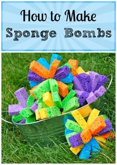 Instead of water balloons, make up a batch of sponge bombs to be dunked in water and used again & again. No balloon bits to clean up later, and so easy to make!