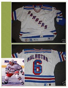 087019bea Manny Malhotra Game Worn New York Rangers Rookie Jersey 1998-1999 Rangers  Game