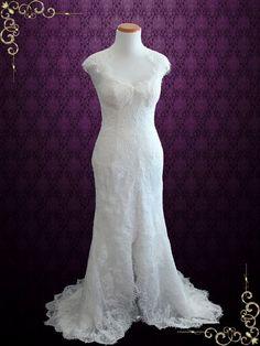 Elegant Keyhole Back French Lace Wedding Dress with Silk Lining  Elira