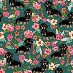 doxie dachshunds dogs pet dog flowers florals baby leggings cute dog faces dog head sweet dogs fabric by petfriendly on Spoonflower - custom fabric
