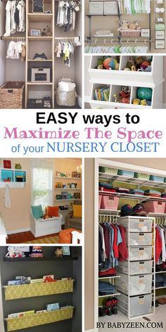 Nursery Storage Organization Tips & Ideas, Small Closet Organization Hacks. Find easy ways to maximize the space of your nursery closet. Small Nursery Organization, Toddler Closet Organization, Home Organization, Closet Ideas, Diy Nursery Storage Ideas, Baby Storage, Closet Storage, Baby Nursery Closet, Baby Room