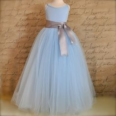 Powder Blue Flower Girl Tutu Sewn long tulle by TutusChicBoutique, $90.00