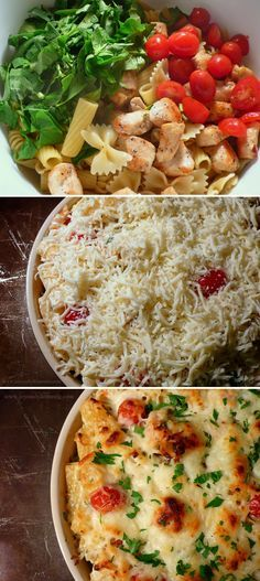 Chicken & Spinach Pasta Bake- could definitely make some healthy changes for a great dinner ! (whole wheat pasta, low fat cheese, etc) Spinach Pasta Bake, Chicken Spinach Pasta, Chicken Pasta Bake, Caprese Chicken, Roasted Chicken, Baked Chicken, Think Food, I Love Food, Pasta Dishes