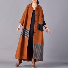"""Patchwork Long Single Breasted Wool Blend Women Tassel Coat Type: Women Coat Style: Casual Material: Wool Season: Autumn Collar: Stand Color: Brown, Red Size: One Size Length: – cm / – """"Bust: cm / Shoulder: cm / """" Sleeve Length: cm / """"The model height:. Abaya Fashion, Muslim Fashion, Kimono Fashion, Boho Fashion, Fashion Dresses, Womens Fashion, Fashion Design, Abaya Mode, Mode Hijab"""