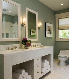 basement bathroom inspiration.  i love crisp white with an accent color.  i'm thinking sage walls as an accent color, mostly white, with walnut accessories.  pretty refreshing.
