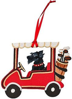 """""""Dogs on The Move"""" Golf Cart Dog Wood 3-D Hand Painted Ornament - Scottish Terrier Scottie"""