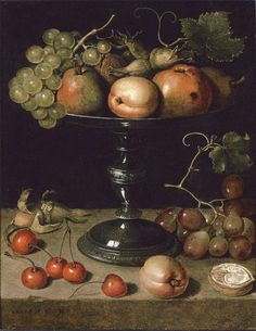 Pears, an apple, an apricot, grapes, almonds and wallnuts on a tazza with grapes, a wallnut, an abricot, cherries and almonds on a stone ledge by Clara Peeters