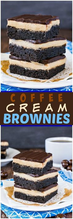 Coffee Cream Brownies - layers of homemade brownies, coffee frosting, and dark chocolate make these the best brownies! Great after school snack or dessert for the coffee lovers in your life! #chocolate #coffee #brownies