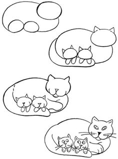 How to draw a cat with kittens
