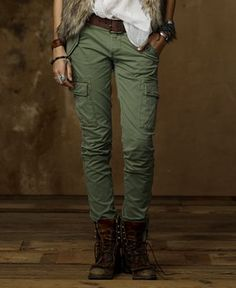 Women's army cargo pants Straight pants trousers fashion RED ...