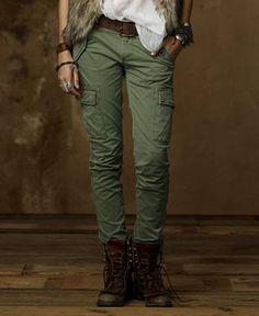 Fantastic New Womens Slim Skinny Stretch Dark Green Low Rise Cargo Pants Combat