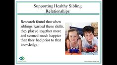 Meeting The Needs Of Siblings, Part 2, May 21st 2013-In part 2 of this series we will discuss strategies for families on how to help support healthy sibling relationships and open communication with all family members. It will include feedback from the SibConnections group at The Johnson Center.