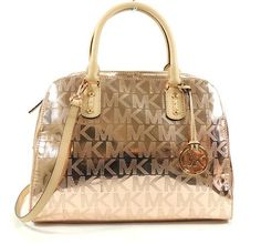 MICHAEL Michael Kors Mirror Metallic Signature Satchel (Rose Gold) I actually have this one!