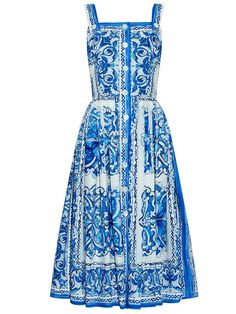 White and Blue Porcelain Spaghetti Strap Backless Dress