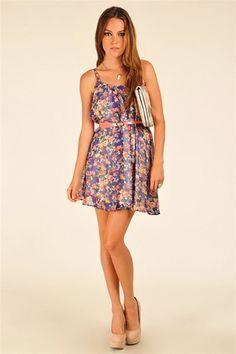 Carie Flower Chiffon Dress - Blue