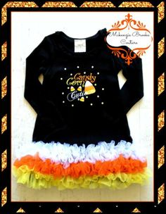 Candy Corn Cutie! Adorable Halloween dress from Mckenzie Brooke Couture! www.mckenziebrookecouture.com