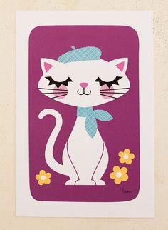 Mini Print - French Kitty