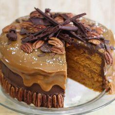 Chocolate Turtle Pumpkin Cake