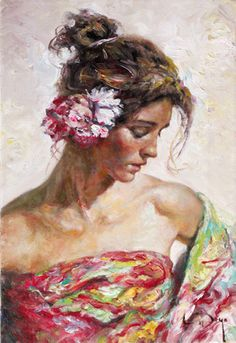 """""""Andaluza"""", an original painting by master artist ROYO, shown at Exclusive Collections Gallery in San Diego's Seaport Village."""