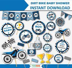 Dirt bike baby shower by Pixiebear.com #motorcycleparty #babyshower