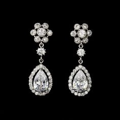 Cubic Zirconia Cluster with pear shaped Drop Earrings | Serendipity Tiaras