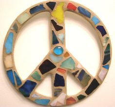 Beach Glass Peace Sign /  Peace Sign Wall Art by breakitupdesigns