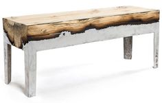 This would be really cool with bronze and oak for an set of exterior benches.