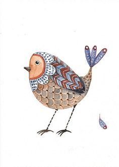 Watercolor Original Painting - Feather Bird - Postcard by Lorisworld