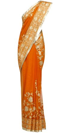 Orange Gold Applique sari by ROHIT BAL. Shop at https://www.perniaspopupshop.com/designers-1/rohit-bal/rohit-bal-1