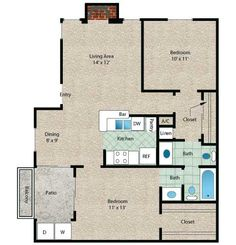 Cayman Floor Plan - 2 Bath with approximately 830 square feet. Lakeside Dining, Apartment Floor Plans, University Of Houston, Lay Outs, Clear Lake, Contemporary Apartment, Two Bedroom Apartments, Small House Plans, Lake City