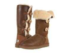 UGG Women Boots Classic Tall Bailey Button Triplet Bomber Chestnut Brown 7 8 New | eBay