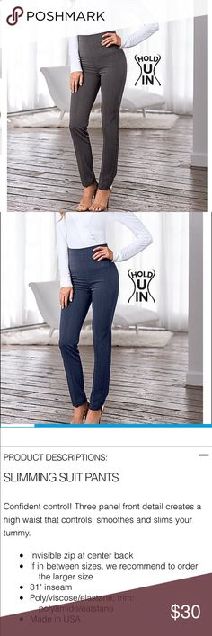 Venus Hold U In Trousers in blue and gray See photo of product description. I have blue and gray pair. Blue pair worn twice, gray never worn. Very, very figure flattering but they run small! Size 12 on tag but would fit a 10 or someone in between size. Price is for both pairs!! Pants Straight Leg
