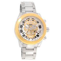 Invicta 18864 Men's Corduba Skull Gold Tone & White Skeleton Dial Steel Bracelet Chrono Watch