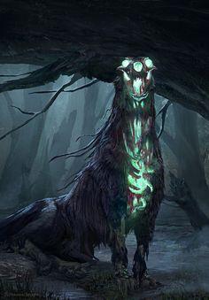 ArtStation - Will O Barghest, Massi Ezem Belabbas Monster Concept Art, Fantasy Monster, Monster Art, Dark Creatures, Mythical Creatures Art, Fantasy Creatures, Fantasy Kunst, Dark Fantasy Art, Fantasy Artwork