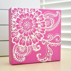 NEW - White on Fuschia Pink Floral - Henna Style Original Painting - 6x6 Canvas-  bridal - wedding - valentines day - mothers day. $35.00, via Etsy.