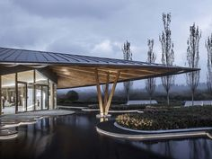 Gallery of Tianjing Zarsion Exhibition Center / Ruf Architects - 19 Arch Architecture, Innovation Centre, Wooden Posts, Wood Interiors, Main Entrance, Exhibition Space, Interior Design Inspiration, Architects, Outdoor Structures