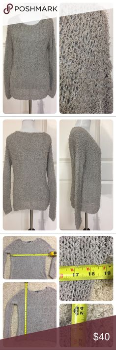Vince gray metallic sweater Fun grey with silver metallic threading sweater from Vince.  Loose threads/yarns all over sweater for fun look. Open weave. One repair on back of sweater as shown on last pic. Can't be seen on front. Statement sweater. Price reduced. Vince Sweaters
