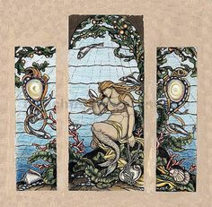 Antique Art Nouveau Mermaid Illustration Coral Seashells Digital Download
