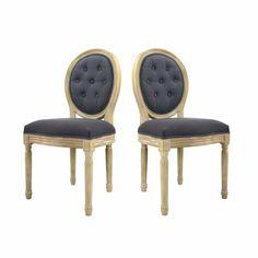 Chaise en tissu polyester et lin DUCHESSE
