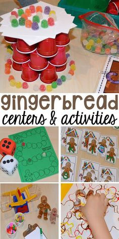 Gingerbread activities and centers for preschool pre-k and kindergarten (STEM math writing letters fine motor and art) Gingerbread Man Activities, Gingerbread Crafts, Christmas Gingerbread, Holiday Activities, Gingerbread Men, Preschool Christmas Activities, Preschool Alphabet, Classroom Activities, Gingerbread Cookies
