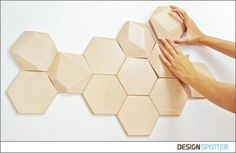 From Miguel Ángel Calero & Sandra Díaz (Spain): Bee Apis wood tiles for wall decor