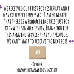 We have just the best subscribers! A big thank you to supporting small business and for sharing your thoughts and feedback about your sensory boxes!💚📦💜 . . Thank you for all the photos and videos you all have shared as well! A lot of thought and love goes into curating each month's box, and it's so nice to see the final product in your homes (and classrooms!) 🙂😍 . . To become a Sensory TheraPLAY Box subscriber, head over to sensorytheraplaybox.com (direct link in profile) . . ✔️Boxes…