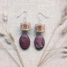 rustic eye earrings  purple stone earrings  reindeer by gorimbaud