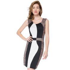 Sexy U-Neck Sleeveless Leopard Print Spliced Women's Dress #shoes, #jewelry, #women, #men, #hats