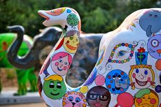 Melbourne Zoo turns 150 in 2012 - these painted elephants were on display throughout the city and being auctioned in October - proceeds of sales and sponsorships going to the zoo's threatened species programs.