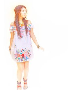 Marshmallow skies Mexican embroidered dress by AidaCoronado,