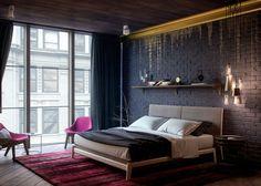 Спальня в насыщенных тонах изобилует асимметричными деталями.