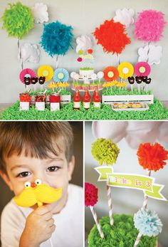 Colorful Dr. Seuss' The Lorax Themed Birthday Party.