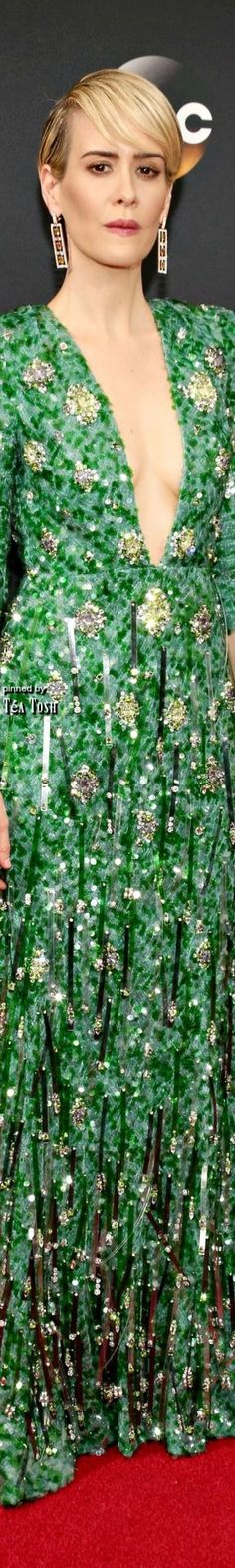 ♛Carolyn♛ Sarah Paulson | Wearing a Prada dress and Brian Atwood shoes.